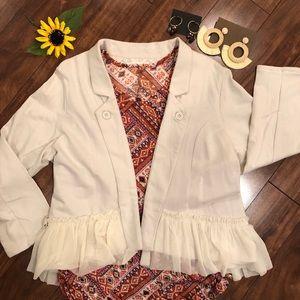 Oatmeal Color Peplum Knit Jacket